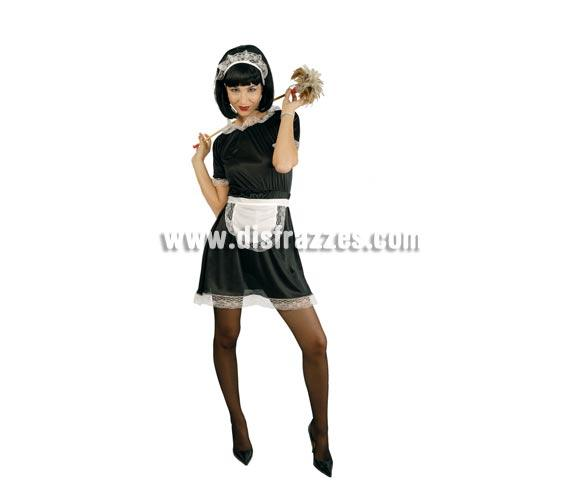Disfraz barato de Camarera adulta para Carnaval. Talla única válida hasta la 42/44. Incluye vestido, delantal y cofia. Un disfraz muy apropiado también para despedidas de Soltera.