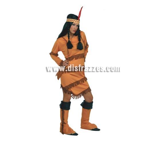 Disfraz barato de India adulta para Carnavales. Talla única válida hasta la 42/44. Incluye vestido, cinta de la cabeza y cubrebotas.