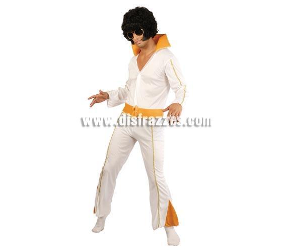 Disfraz barato de Rey del Rock adulto para Carnavales. Talla única 52/54. Incluye traje y el cinturón. Para imitar al legendario Elvis Presley. Peluca NO incluida, podrás verla en la sección Complementos. Vestir al novio de Elvis en una despedida de Soltero es muy auténtico.