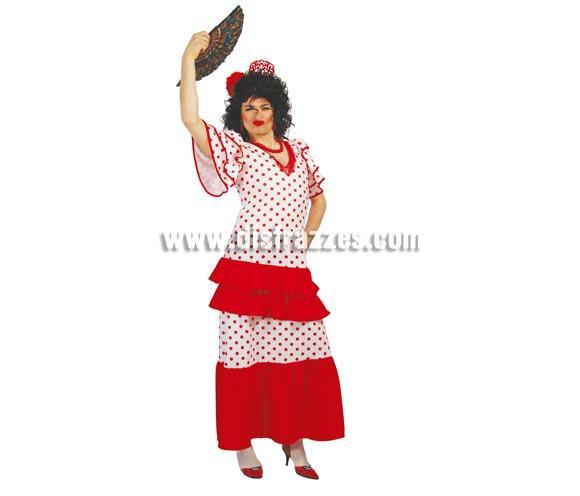Traje de Andaluza Hombre adulto para Carnavales. Talla única 52/54. Incluye Vestido. Abanico NO incluido, podrás verlo en la sección de Complementos. Disfraz de sevillana o Traje de flamenca para hombre, muy bueno para Despedidas de Soltero.