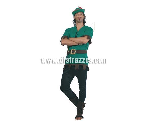 Disfraz de Robin Hood Adulto. Talla única 52/54. Incluye sombrero, casaca, cinturón, pantalón y polainas. Disfraz de Peter Pan o de Arquero para hombre.