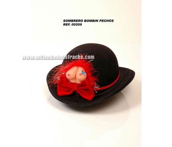 Sombrero bombin de plástico con pechos. Perfecto para Despedidas de Soltero o Soltera.