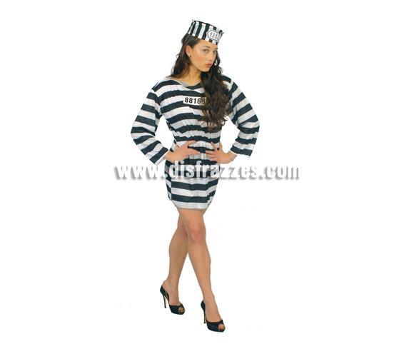 Disfraz super barato de Presidiaria Sexy adulta para Carnaval. Talla única válida hasta la 42/44. Incluye gorro y vestido. Disfraz de Presa o Prisionera ideal para Despedidas de Soltera.