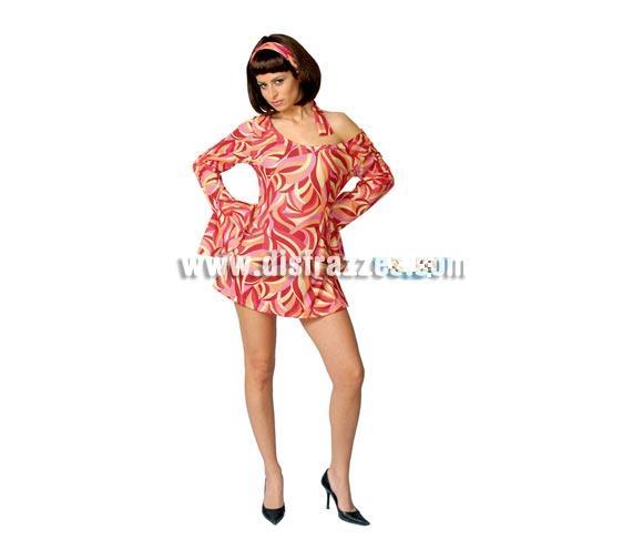 Disfraz barato de mujer Años 60 adulta para Carnavales. Talla única válida hasta la 42/44. Incluye cinta cabeza y vestido.