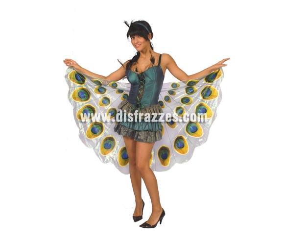 Disfraz de Pavo Real adulta para Carnavales. Talla única 38/40. Incluye cinta cabeza, vestido y cola reversible.
