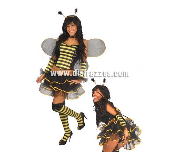 Disfraz de Abeja Sexy adulta para Carnaval. Talla única 38/40. Incluye diadema, cuello, corpiño, alas, manguitos, falda y medias. ¡¡Compra tu disfraz para Carnaval en nuestra tienda de disfraces, será divertido!!