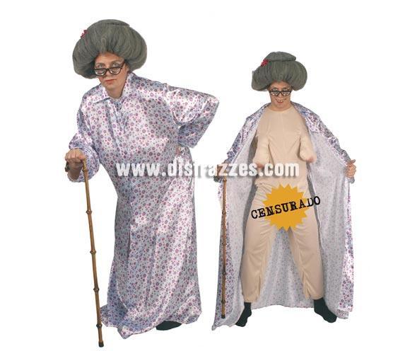 Disfraz de Vieja o Abuela Sexy adulto para Carnaval y Despedidas de soltero. Talla standar 52/54. Incluye traje y bata. Peluca y gafas NO incluidas, podrás verlos en la sección de complementos y pelucas. La peluca es la ref. 4665GUI.
