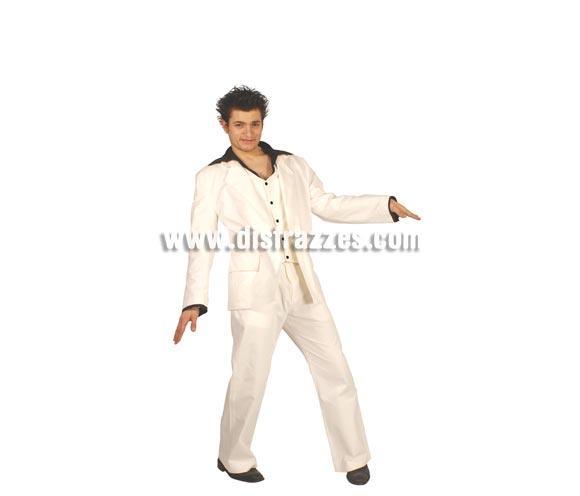 Disfraz de Rey de la Disco adulto para Carnavales.  Talla única 52/54. Incluye camisa-chaleco, chaqueta y pantalón. Disfraz de Fiebre del Sábado Noche.