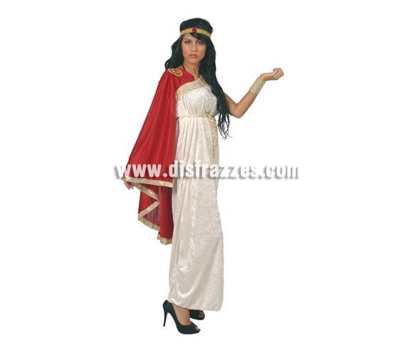 Disfraz de Romana adulta para Carnavales. Talla única válida hasta la 42/44. Incluye cinta cabeza, vestido y capa. Tela de terciopelo.