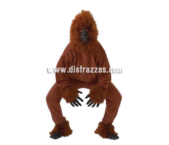 Disfraz de Gorila marrón adulto para Carnavales. Talla única 52/54. Incluye cabeza, casaca, manos, pantalón, pies.