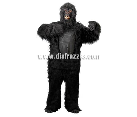 Disfraz de Gorila Negro Extra adulto para Carnavales. Talla única 52/54. Incluye cabeza, traje, manos y pies. Un traje de Gorila de Alta Calidad.