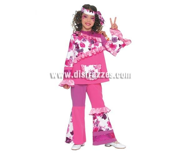 Disfraz de Hippie Infantil de 10 a 12 años. Incluye cinta cabeza, casaca y pantalón.