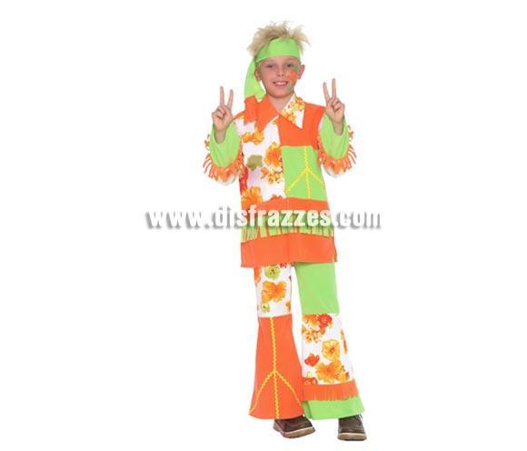 Disfraz de Hippie Infantil de 7 a 9 años. Incluye cinta cabeza, casaca y pantalón.