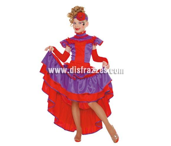 Disfraz de Can Can infantil. Talla de 10 a 12 años. Incluye diadema, vestido y mangas.