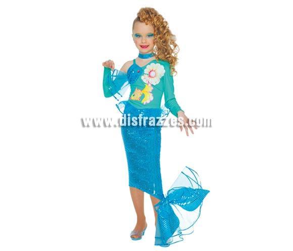 Disfraz de Sirena infantil. Talla de 4 a 6 años. Incluye blusa con cuello y falda con cola. Disfraz de Ariel La Sirenita.
