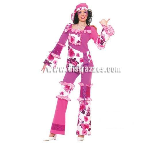 Disfraz de Hippie mujer adulta para Carnavales. Disfraz de Hippy. Talla única válida hasta la 42/44. Incluye pañuelo, casaca y pantalón.