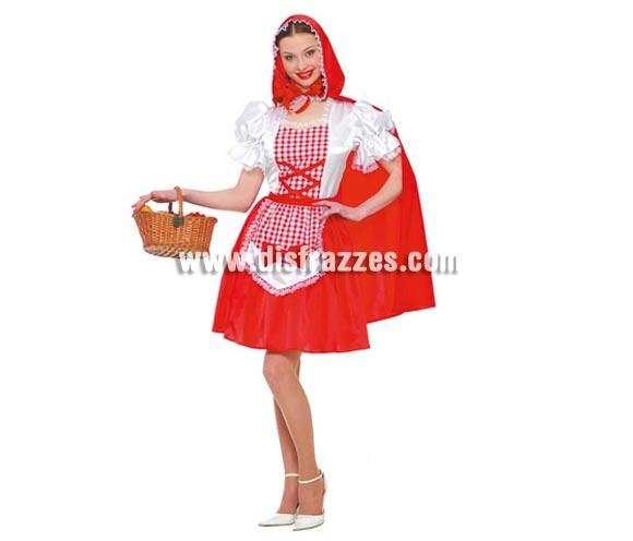 Disfraz de Caperucita Roja adulta para Carnavales. Talla única hasta la 38/40. Incluye capa y vestido. Cesta NO incluida.