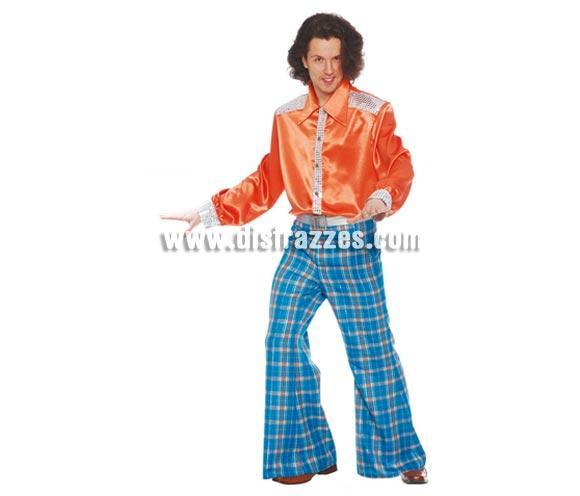 Disfraz de Años 60 Hombre adulto para Carnaval. Talla única 52/54. Incluye camisa y pantalón.