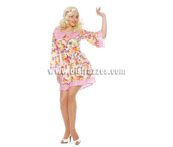 Disfraz de Años 60 para mujer adulta. Talla única válida hasta la 38/42. Incluye Cinta cabeza y vestido. Es perfecto para Fiestas con amigos y por supuesto para Carnavales.