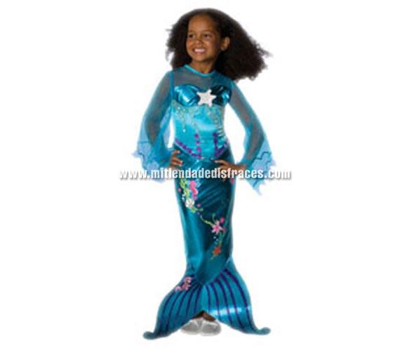 Disfraz de la Sirenita Azul Mágico o Princesa Ariel de niñas. Talla de 5 a 6 años. Incluye vestido  Un disfraz ideal para regalar en cualquier ocasión.