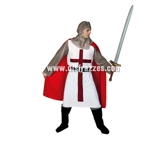 Disfraz de Caballero Templario Medieval para hombre. Talla standar M-L 52/54. Incluye verdugo, casaca, cinturón y pantalones-botas de tela. Espada NO incluida, podrás verla en la sección de Complementos. Traje Medieval de hombre de excelente relación calidad - precio prefecto para Ferias Medievales.