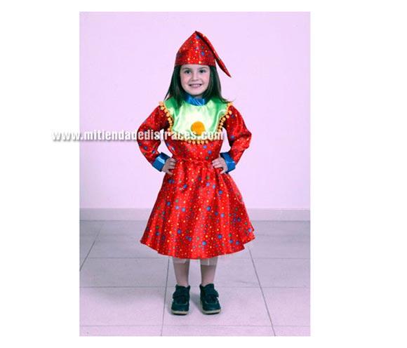 Disfraz de Payasa Roja Niña económico talla de 2 a 4 años. Incluye camisa, falda y gorro.