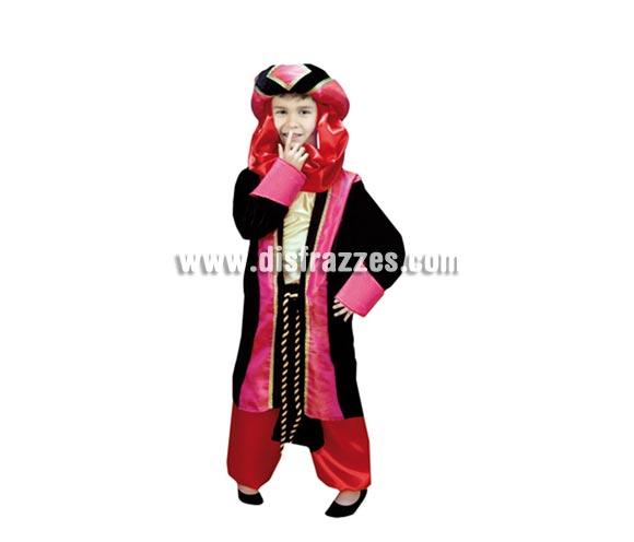Disfraz de Príncipe Árabe o de Paje Real infantil para Carnaval o para Navidad barato. Talla de 4 a 6 años. Incluye turbante, blusón, cinturón y pantalones. Traje Paje Real para Navidad.