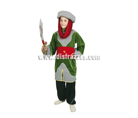 Disfraz de Principe Árabe o de Paje Real para Carnaval y para Navidad barato. Talla de 5 a 6 años. Incluye turbante, blusón, cinturón y pantalones.
