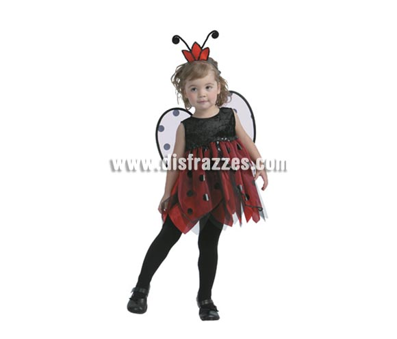 Disfraz de Hada Mariquita. Talla de 3 a 4 años. Incluye vestido, tocado y alas. Pero que reguapa que están las niñas con éste disfraz.