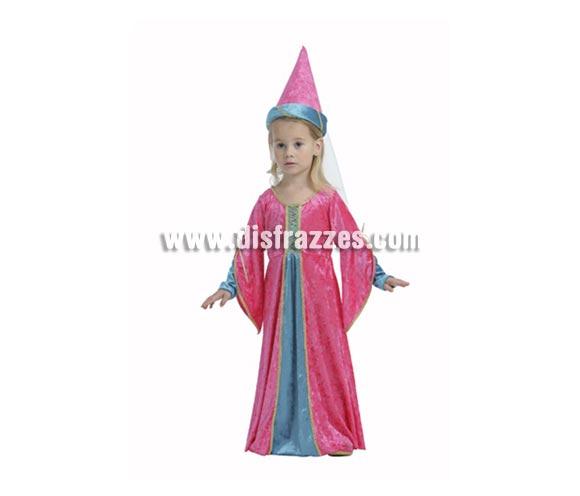Disfraz de Princesa Rosa para niña. Talla de 3 a 4 años. Incluye vestido y sombrero con velo. Disfraz de Princesa Medieval para niña.