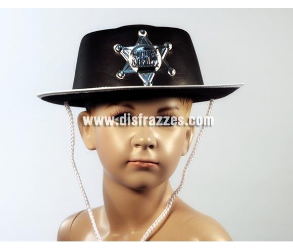 Sombrero vaquero infantil negro para Carnaval. Talla universal de niños. Ideal como complemento de los disfraces de Sheriff.