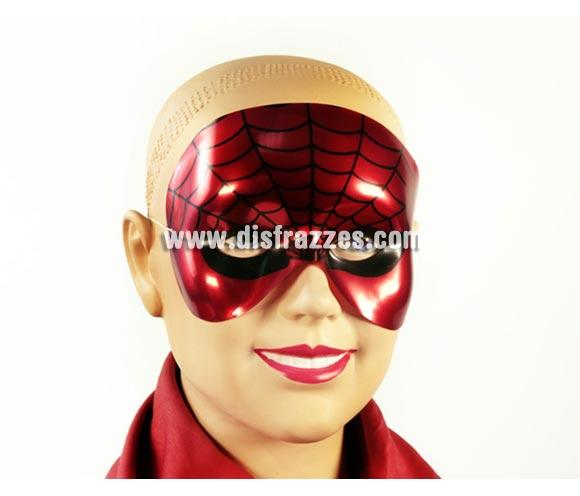 Antifaz de Spiderman metalizado de PVC para Carnaval. Talla universal de niños.