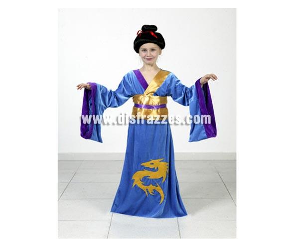 Disfraz barato de Japonesa o Geisha infantil para Carnaval. Talla de 10 a 12 años. Incluye vestiso y cinturón. Peluca NO incluida, podrás verla en la sección Pelucas.