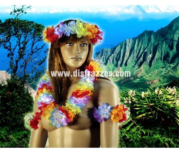 Set Hawaiana lujo para Carnavales y para fiestas Hawaianas en Verano. Incluye collar, muñequeras o brazaletes y tocado de la cabeza.