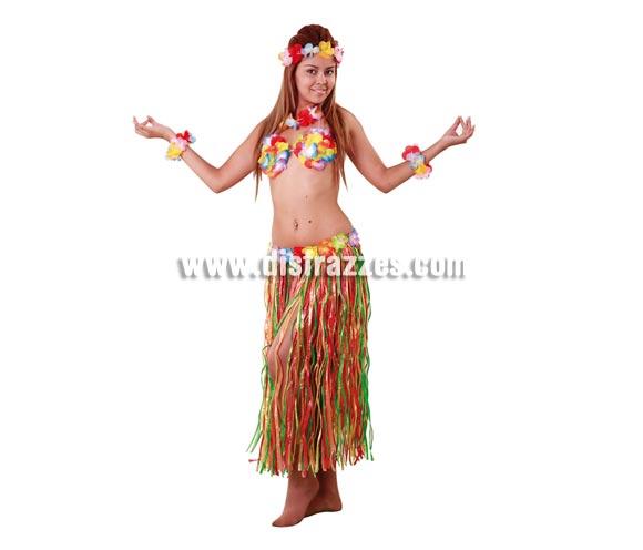Set de Hawaiana. Compuesto por cinta de la cabeza, muñequeras, collar, cocos y falda. Disfraz de Hawaiana o Hawaiano.