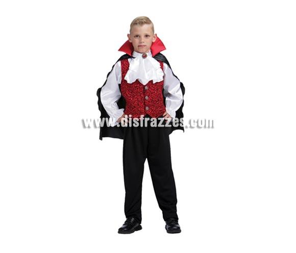 Disfraz de Vampiro de lujo o Drácula niño para Halloween barato. Talla de 7 a 9 años. Incluye camisa con pechera, chaleco, capa y pantalón.