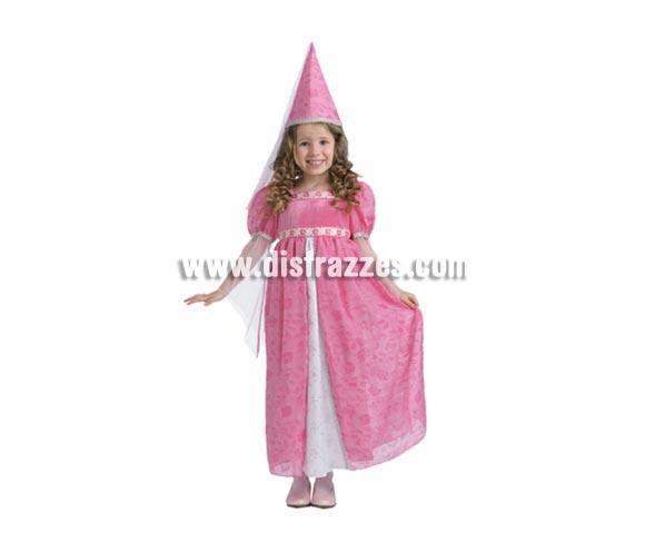 Disfraz de Pequeña Princesa infantil para Carnaval. Talla de 5 a 6 años. Disfraz de Hada Madrina Rosa. Incluye vestido y gorro.