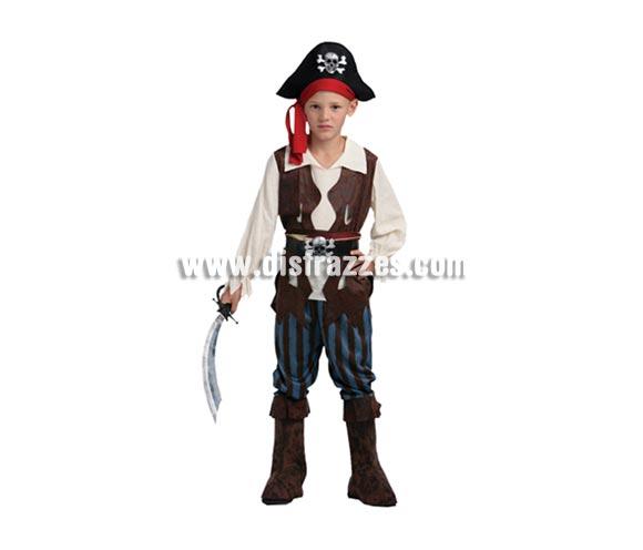 Disfraz de Pirata del Caribe infantil barato para Carnaval. Talla de 7 a 9 años. Incluye camisa con chaleco cosido, cinturón, pantalones con caña de botas cosida y sombrero.