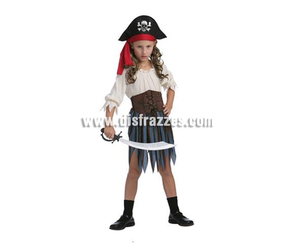 Disfraz de Pirata del Caribe niña talla de 7 a 9 años. Incluye vestido, corpiño, cubrebotas y sombrero. Espada no incluida, podrás verla en la sección Complementos.