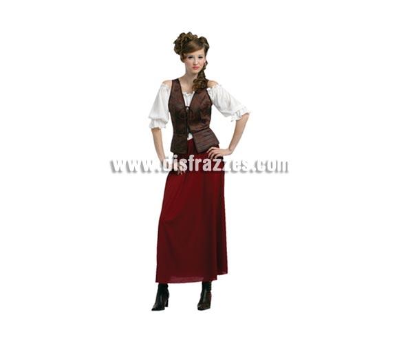 Disfraz de Tabernera Medieval barato para mujer. Talla standar M-L = 38/42. Incluye vestido y chaleco. Disfraz de Posadera o Mesonera para mujer.
