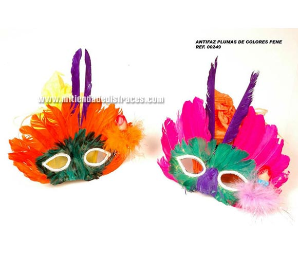 Antifaz plumas de colores con pene. Se venden por separado. Perfecto para Despedidas de Soltero o Soltera.