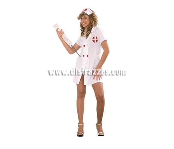 Disfraz muy barato de Enfermera Sexy adulta. Talla standar M-L 38/42. Incluye cofia y vestido. No incluye la jeringuilla, podrás verla en la sección de Complementos.