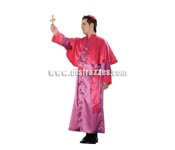 Disfraz de Obispo adulto. Talla standar M-L = 52/54. Incluye bonete, capelina, túnica y fajín. Cruz NO incluida, podrás verla en la sección de Complementos.
