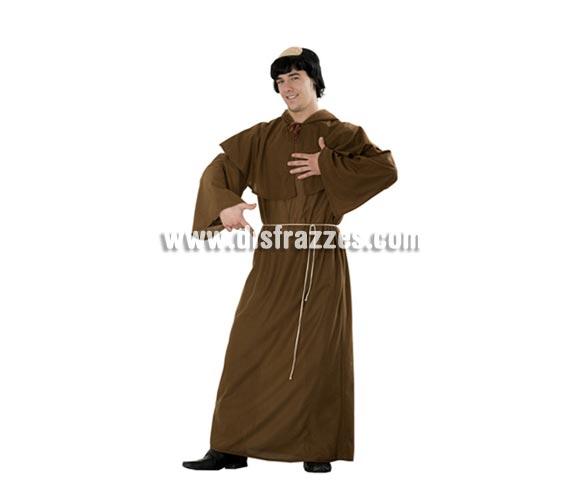 Disfraz barato de Monje para hombre. Talla Standar M-L = 52/54. Incluye capelina con capucha, túnica y cinturón. Calva NO incluida, podrás verla en la sección Complementos. Éste disfraz se usa mucho también para Halloween.