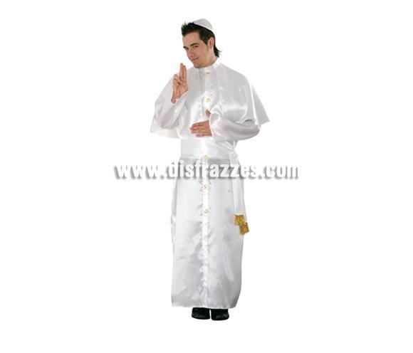 Disfraz de Papa para hombre. Talla standar M-L = 52/54. Incluye gorro, vestido y fajín. Éste disfraz se suele utilizar mucho para Grupos junto con otros disfraces de Monjas, de Cardenales, de Monjes, etc. y queda muy guay.