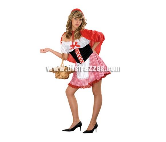 Disfraz de Caperucita Sexy adulta. Talla standar M-L = 38/42. Incluye vestido, delantal y capa con capucha. Cesta NO incluida.