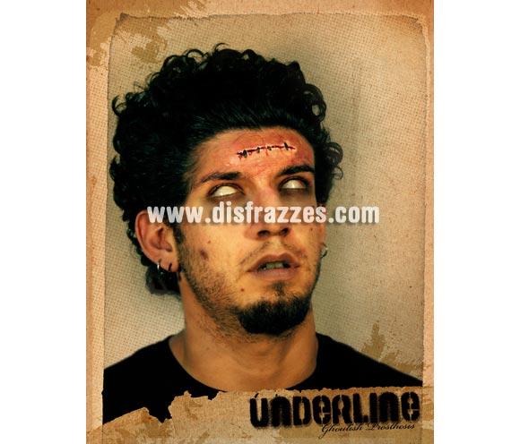 Maquillaje herida corte cosido para Halloween. Underline FX. Artículo de Maquillaje FX fabricado en látex ideal para caracterizarte en Carnaval o en Halloween.