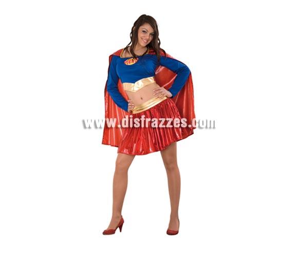 Disfraz barato de Super Heroína sexy adulta. Talla Standar M-L = 38/42. Incluye camiseta, falda y capa. Disfraz con el cual te sentirás muy sexy, igual que Super Girl. Supergirl es la mujer de Superman.