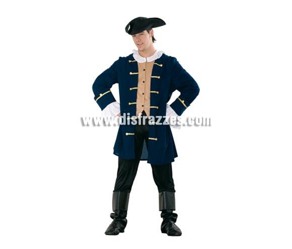 Disfraz de Patriota adulto. Talla standar M-L = 52/54. Incluye gorro, pechera, chaqueta, pantalón y botas de tela. Con una peluca blanca, puede valer como disfraz de Época. Para ir imitar a Mel Gibson en la famosa película de El Patriota.