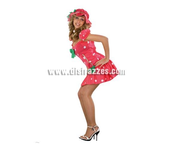 Disfraz muy barato de Fresita Sexy para mujer. Talla Standar M-L 38/42. Incluye vestido y gorro. Disfraz diferente muy sexy con el que llamaréis la atención en Carnaval o en cualquier tipo de Fiesta.